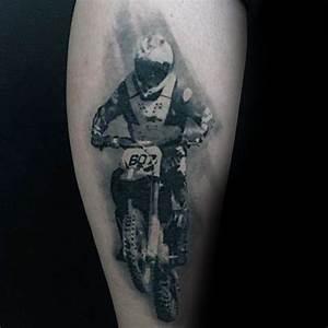 Unique Mens Oberschenkel Motocroßmitfahrer Tattoo Design ...