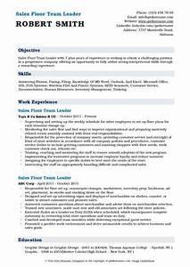 Activities Resume For College Template Sales Floor Team Leader Resume Samples Qwikresume