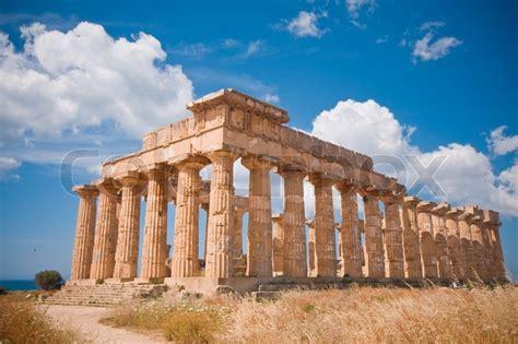 ruinen griechischer tempel selinunte stockfoto