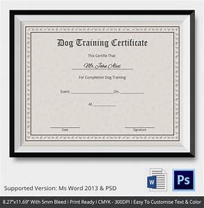 training certificate template word free With dog training certification