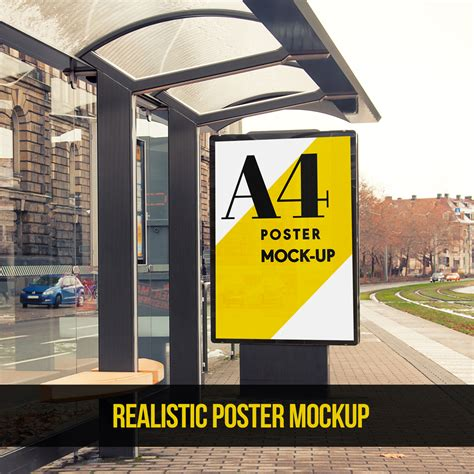 bus stop poster psd template bus stop advertising area poster free mock up