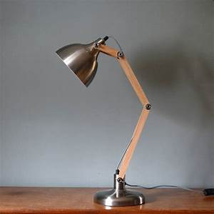 brushed steel and wood angled table lamp by the forest With angled floor lamp wood