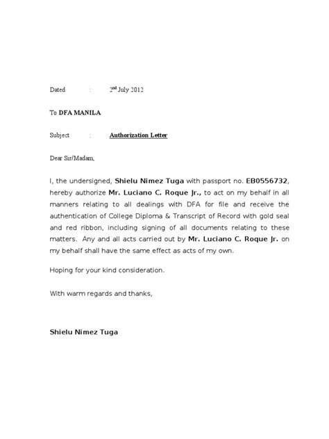 authorization letter dfa