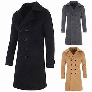 Men Winter Wool Long Coat Double Breasted Trench Jacket ...
