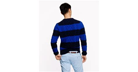 J.crew Wallace Barnes Cable Sweater In Blue For Men