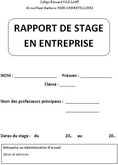 rapport de stage en cuisine exemple exemple dun rapport de stage en entreprise