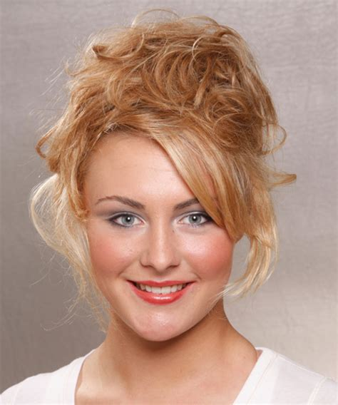 long curly casual updo hairstyle copper blonde hair color