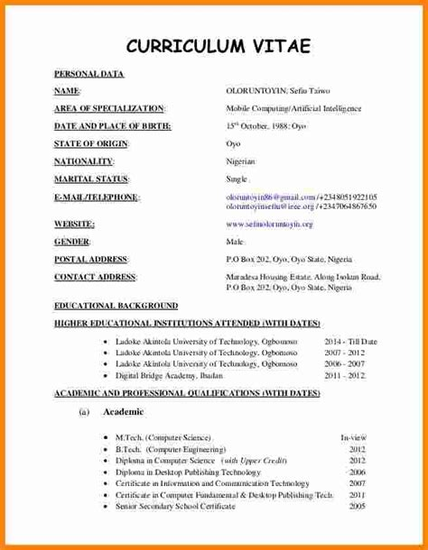 Recent Format Of Cv recent curriculum vitae letters free sle letters