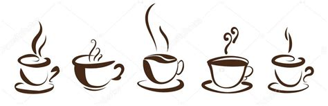 There are vector icons with different coffee cups. Coffee cups isolated icon. brown silhouette on white background. simple flat design. — Stock ...