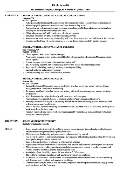 Resume For Assistant Restaurant Manager by Assistant Restaurant Manager Resume Sles Velvet