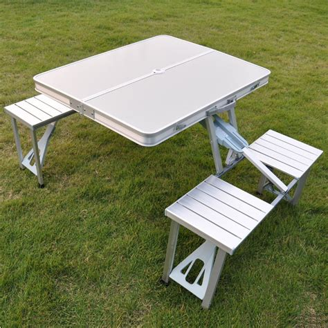 outdoor folding tables and chairs picnic table aluminum