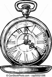 Illustration of pocketwatch. Vector ink hand drawn... eps ...
