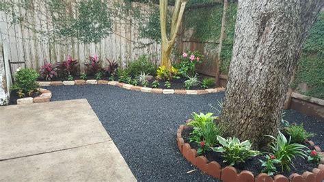 backyard gravel landscaping backyard landscape with black star gravel patio yelp