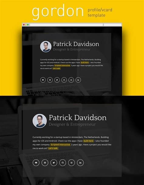 gordon profile vcard template  images html css