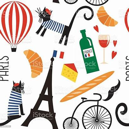 French Cartoon Culture Symbols Vector Seamless Pattern