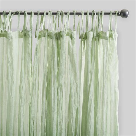 green crinkle cotton voile curtains set of 2 world