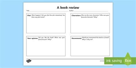 book review template ks resource