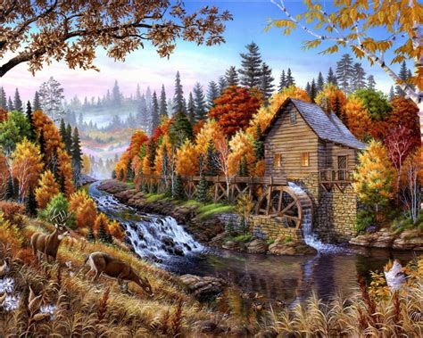 beautiful landscape art nature trees river mill deer