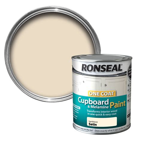 Ronseal Cupboard Paint by Ronseal Sandstone Satin Cupboard Paint 750 Ml