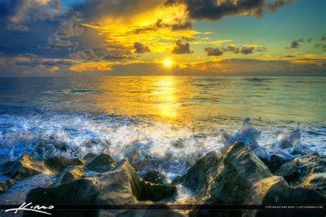 Magical Beach Sunrise Sparkling Ocean Wave