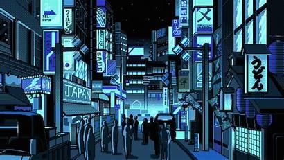 Pixel Japan Street Desktop Anime Wallpapers Vaporwave