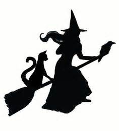 witch broom silhouettes halloween obsessed pinterest