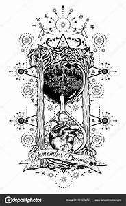 Baum und Herz in Sanduhr Symbol von Leben und Tod Stockvektor © intueri #131939452