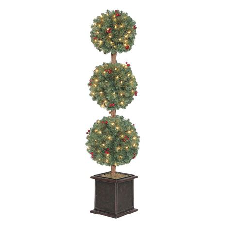 pre lit christmas topiary trees 4 ft hudson artificial tree topiary with 150 clear lights tp40m2j76c00 the home depot