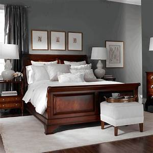 dark cherry wood bed square white stool with legs dark With bedroom furniture decorating ideas 2