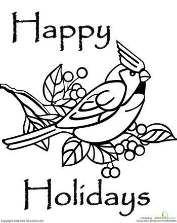 happy holidays coloring page bird coloring pages