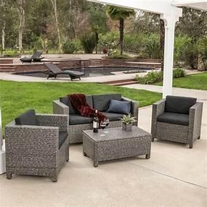 Venice 4 piece grey black wicker outdoor sectional sofa set for Venice outdoor 5 piece wicker sofa sectional set