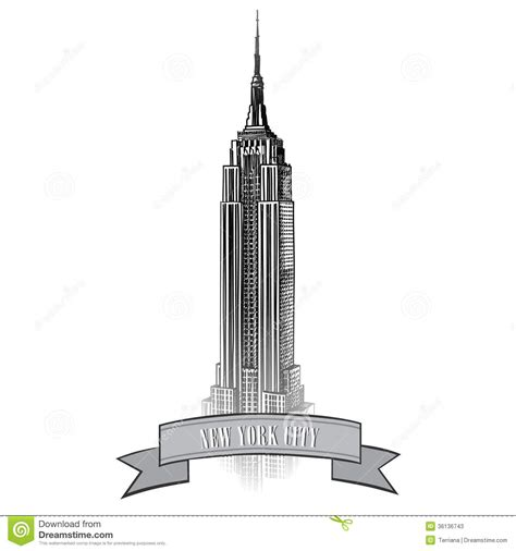 New York City Label Vector Usa Landscape Hand Drawn