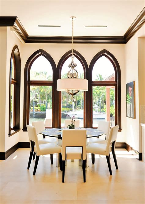 Living Room With Fireplace And Bookshelves by Drum Shade Chandelier Dining Room Contemporary With Arch