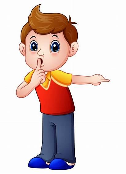 Cartoon Silence Boy Clipart Vector Shhh Gesturing
