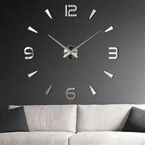 Grande Horloge Murale Design : getek 3d grande horloge murale surface miroir d coration ~ Nature-et-papiers.com Idées de Décoration