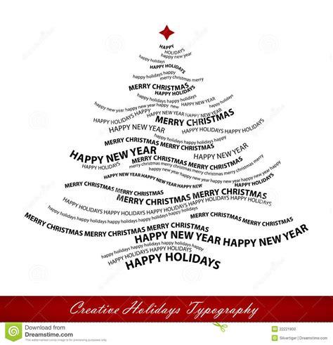 christmas tree shape  words stock vector