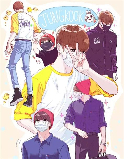 bts anime wallpaper  group wallpapers
