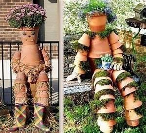 Creation Avec Des Pots De Fleurs : cr ations personnages en pots de fleurs au jardin ~ Melissatoandfro.com Idées de Décoration