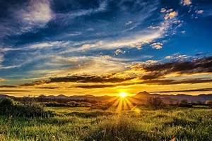 nature, spring, field, mountains, landscape, sunset, the, sun, rays, the, sky, clouds, hd, wallpaper