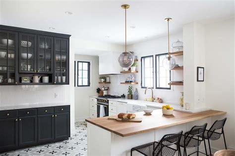 white  black kitchen  gray cement star floor tiles