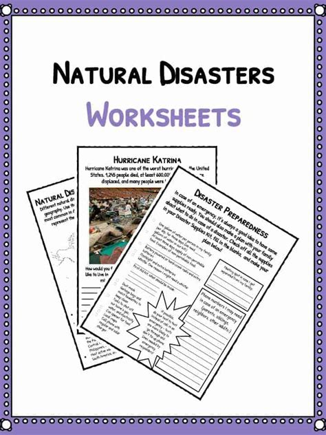 natural disaster worksheets facts historical