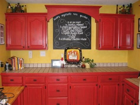 chef decor kitchen  painted  cabinets red