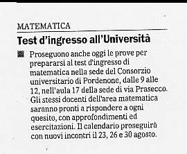 Test D Ingresso Matematica Università Rassegna Sta Universit 224 Di Udine