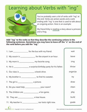 verbs with quot ing quot worksheet education