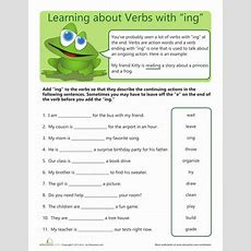 "Verbs With ""ing""  Worksheet Educationcom"