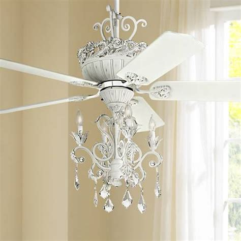 white crystal chandelier ceiling fan 52 quot casa chic rubbed white chandelier ceiling fan 12277