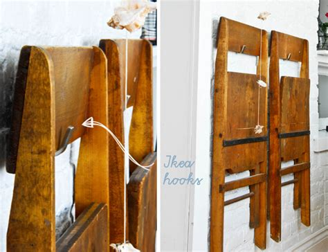 Hanging Folding Chairs On Wall by Dining Room Makeover Funkytime