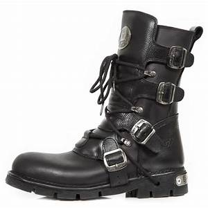 Black New Rock Boots with Zipper Lacing and 4 Buckles