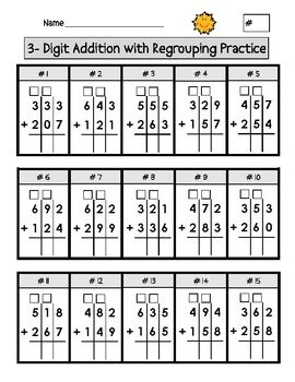 digit addition with regrouping worksheets by second
