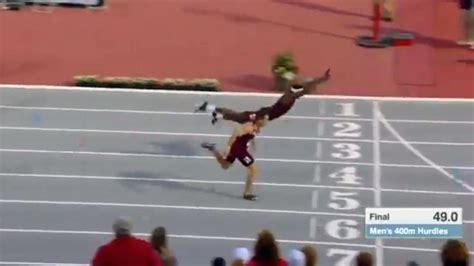 texas  hurdler superman dives  finish